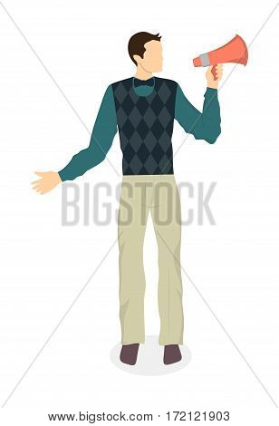 Man with loudspeaker on white background. Concept of promoting, announcement and advertising.