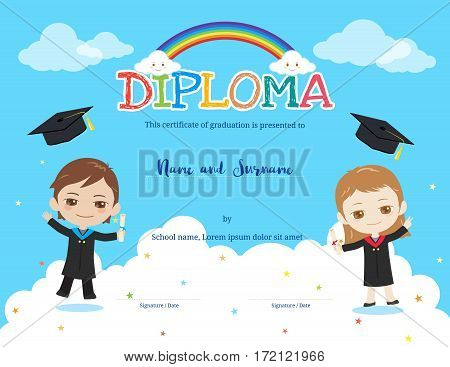 Colorful kids diploma certificate template in cartoon style with rainbow and sky background boy and girl holding diploma and wearing academic dress and graduation cap