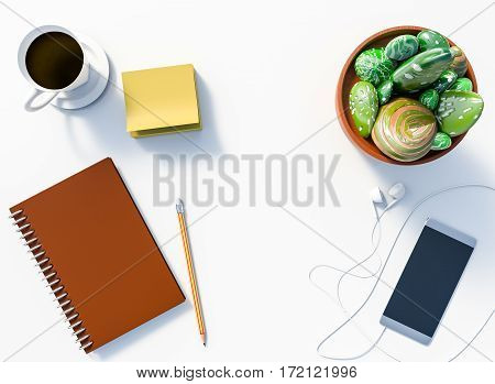 3D rendering of White office desk table with notepad and pencil smartphone with earphone stone cactus pot and coffee