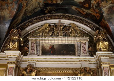 SAINT-PETERSBURG RUSSIA - JANUARY 03 2017: Interiors of St. Isaac's Cathedral. St. Petersburg Russia.