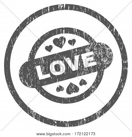 Love Stamp Seal grainy textured icon for overlay watermark stamps. Rounded flat vector symbol with unclean texture. Circled gray ink rubber seal stamp with grunge design on a white background.