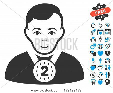 2nd Prizer Sportsman icon with bonus passion pictures. Vector illustration style is flat iconic blue and gray symbols on white background.