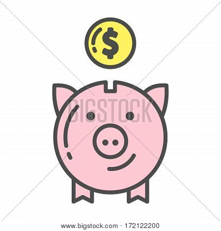 Isolated piggy bank icon with coin on white background. Concept of savings, banking and cash.