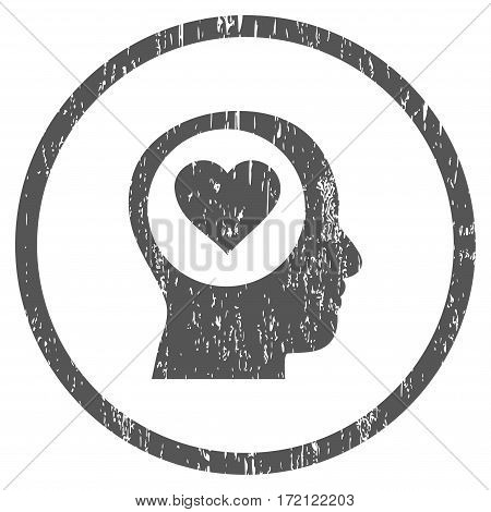 Love Thinking Head grainy textured icon for overlay watermark stamps. Rounded flat vector symbol with scratched texture. Circled gray ink rubber seal stamp with grunge design on a white background.