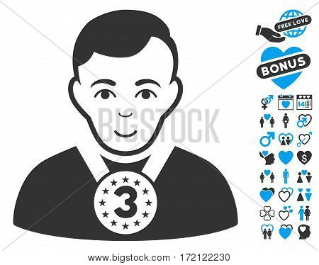 3rd Prizer Sportsman pictograph with bonus decorative images. Vector illustration style is flat iconic blue and gray symbols on white background.
