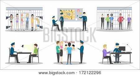 Police station set on white background. Interrogation room, jail with guilty people and office.