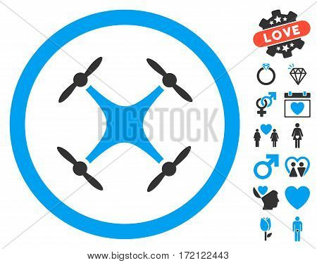 Airdrone icon with bonus amour symbols. Vector illustration style is flat iconic blue and gray symbols on white background.