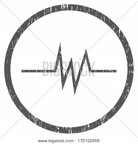Pulse Signal grainy textured icon for overlay watermark stamps. Rounded flat vector symbol with scratched texture. Circled gray ink rubber seal stamp with grunge design on a white background.