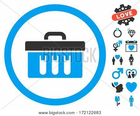 Analysis Box icon with bonus romantic pictures. Vector illustration style is flat iconic blue and gray symbols on white background.