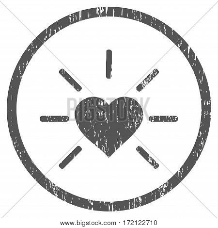 Shiny Love Heart grainy textured icon for overlay watermark stamps. Rounded flat vector symbol with scratched texture. Circled gray ink rubber seal stamp with grunge design on a white background.