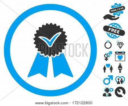 Approvement Seal icon with bonus love icon set. Vector illustration style is flat iconic blue and gray symbols on white background.