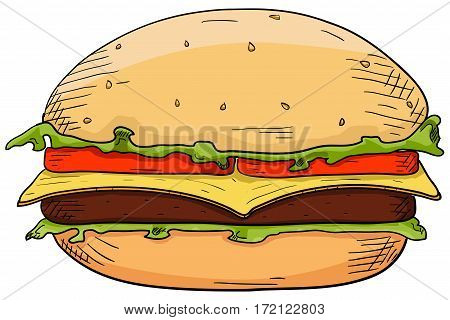 Cheeseburger. Hand drawn sketch. Vector illustration isolated on white background
