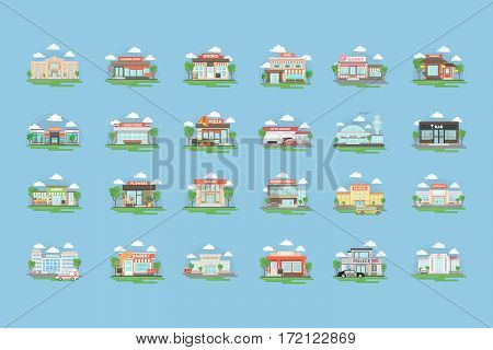 City buildings set. All kinds of buildings and organisations as bank and bar, barber shop and cafe, school and library and more.