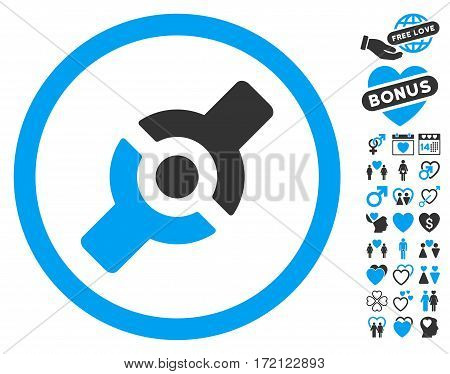 Artificial Joint pictograph with bonus marriage clip art. Vector illustration style is flat iconic blue and gray symbols on white background.