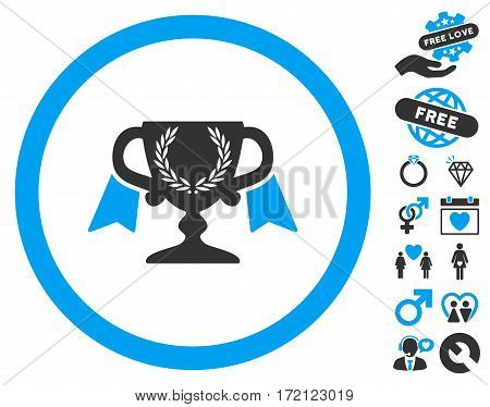 Award Cup icon with bonus passion pictograph collection. Vector illustration style is flat iconic blue and gray symbols on white background.