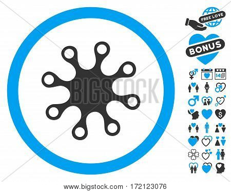 Axenic icon with bonus decoration symbols. Vector illustration style is flat iconic blue and gray symbols on white background.