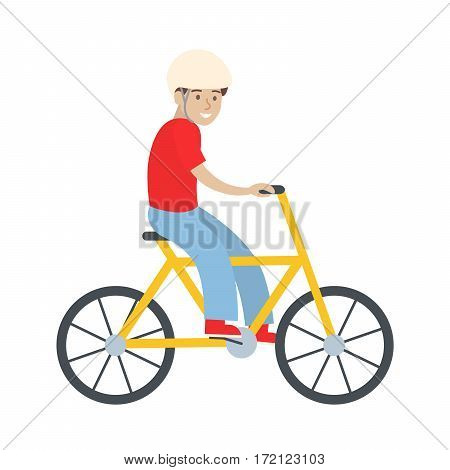 Man with bycicle on white background. Healthy lifestyle, active entertaining.