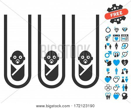 Baby Cloning Test-Tubes icon with bonus love graphic icons. Vector illustration style is flat iconic blue and gray symbols on white background.