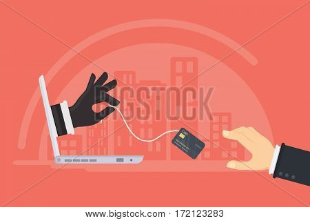 Credit card stealing. Thief steals money from the credit card through the man's laptop. Red background.