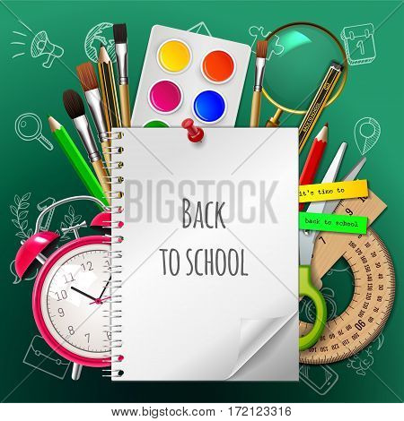 Back To School Poster, Colorful School Supplies: Copybook, Paint, Watercolor, Brush, Pencil, Ruler,