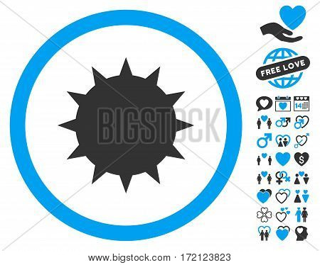 Bacterium icon with bonus marriage graphic icons. Vector illustration style is flat iconic blue and gray symbols on white background.
