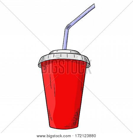 Paper cup with lid and drinking straw. Hand drawn sketch. Vector illustration isolated on white background