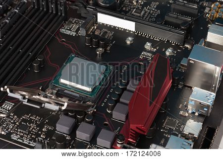 Modern, New, Gaming Motherboard With Installed Cpu Processor.