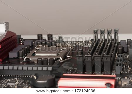Close Up Of Installed Cpu Processor On Modern, New, Gaming Motherboard