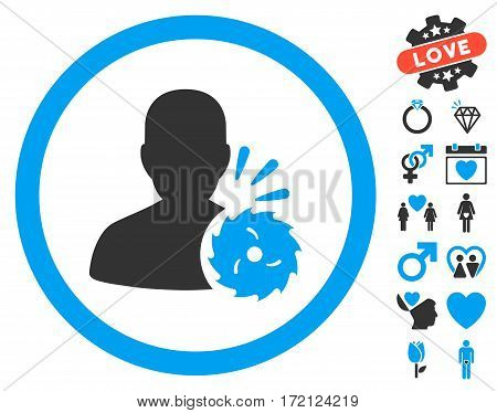 Body Execution pictograph with bonus dating pictograms. Vector illustration style is flat iconic blue and gray symbols on white background.