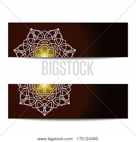 Banners set with shiny floral mandalas. Sacred geometry. Ethnic ornament. Indian traditional decorative elements. Design for yoga studio flyer, card, invitation. Vector EPS10 illustration.