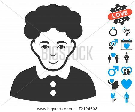 Brunette Woman icon with bonus valentine pictograms. Vector illustration style is flat iconic blue and gray symbols on white background.