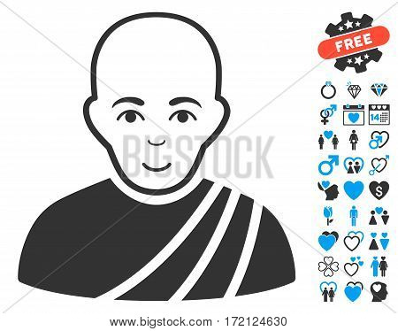 Buddhist Monk icon with bonus love pictograph collection. Vector illustration style is flat iconic blue and gray symbols on white background.