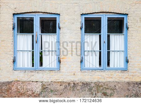 Texture Of Windows In Blue Wooden Frames