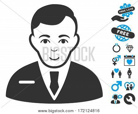 Businessman icon with bonus marriage design elements. Vector illustration style is flat iconic blue and gray symbols on white background.