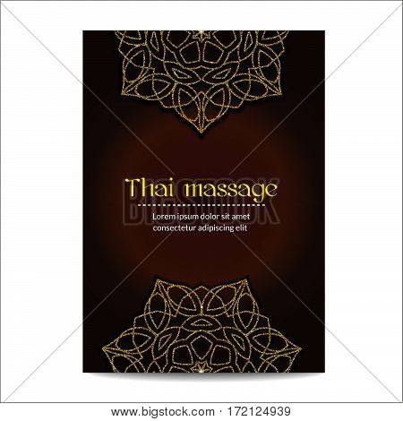 Thai massage banner with golden floral mandalas. Traditional decorative ethnic ornament. Design for massage salon, flyer, card, invitation. Realistic glitter sequins. Vector EPS10 illustration.