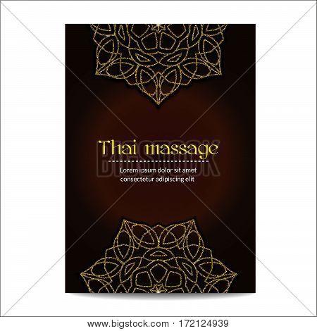 Thai massage banner with golden floral mandalas. Traditional decorative ethnic ornament. Design for massage salon, flyer, card, invitation. Realistic glitter sequins. Vector EPS10 illustration.