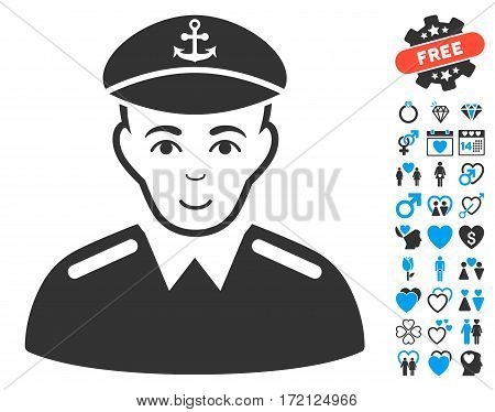 Captain pictograph with bonus amour pictograms. Vector illustration style is flat iconic blue and gray symbols on white background.