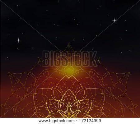 Mandala on cosmos blurred background. Space and stars. Blur sunset colors. Sacred geometry ornament. Indian decorative element. For yoga studio or meditation classes. Vector EPS10 illustration.