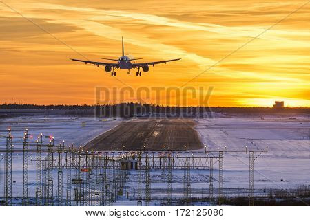 Airplane landing to airport runway in sunset