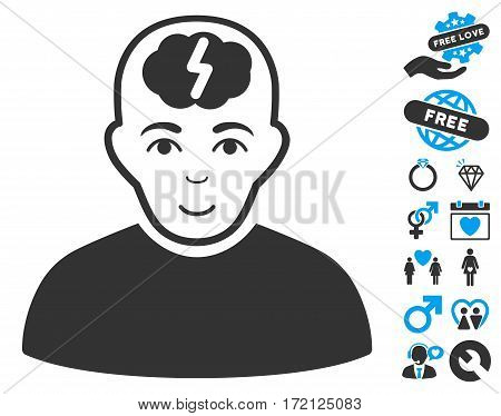 Clever Boy icon with bonus dating pictograph collection. Vector illustration style is flat iconic blue and gray symbols on white background.