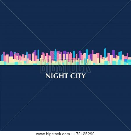 Vector color illustration of city landscape panorama at night