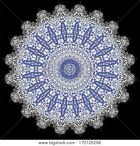 Blue Ornamental Line Pattern. Endless Texture. Oriental Geometric Ornament