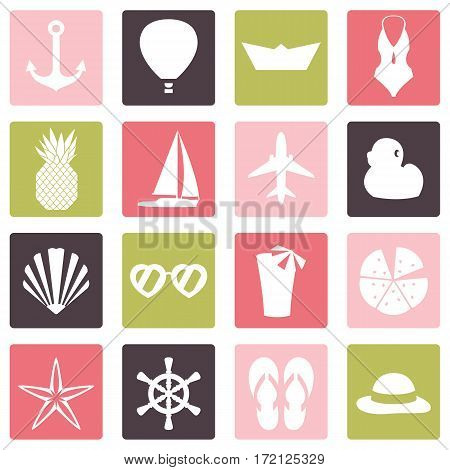 Vector illustration of color summer symbols ans objects