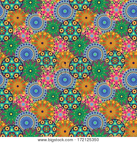 Seamless Pattern With Multicolor Geometric Flowers