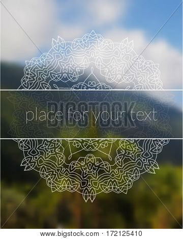 Sacred geometry mandala on realistic tropic background. Boho decorative elements. Place for your text. Good for yoga studio or meditation classes, flyer, card, invitation. Vector EPS10 illustration.