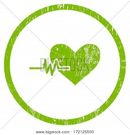 Heart Pulse grainy textured icon for overlay watermark stamps. Rounded flat vector symbol with scratched texture. Circled light green ink rubber seal stamp with grunge design on a white background.