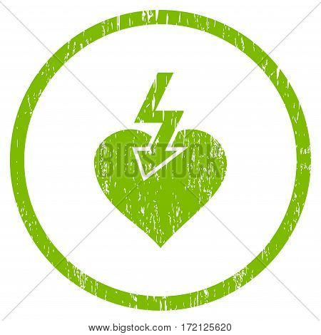 Heart Shock Strike grainy textured icon for overlay watermark stamps. Rounded flat vector symbol with dust texture. Circled light green ink rubber seal stamp with grunge design on a white background.