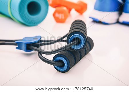 Fitness Equipment On White Background