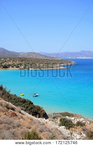 ISTRO, CRETE - SEPTEMBER 18, 2016 - Elevated view of the sea and coastline with mountains to the rear Istro Crete Greece Europe, September 18, 2016.