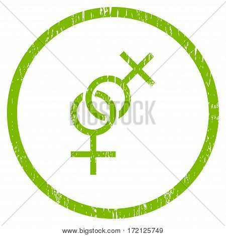 Lesbian Love Symbol grainy textured icon for overlay watermark stamps. Rounded flat vector symbol with unclean texture.